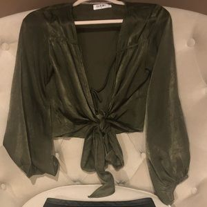 LF Store forest green beautiful front tie blouse